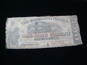 1862 The Mississippi Central Railroad Company $2.00 Banknote Good