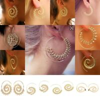 Vintage Women Lady Circles Round Spiral Brass Tribal Hoop Earrings Jewelry