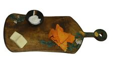 Floral Handpainted Cheese Serving Board with Handle  Snacks Serving Platter