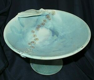 Vintage Australian Bisque Pottery Aqua Blue Footed Comport Embossed Circles