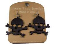 Green Tree Jewelry Black Satin Skull and Crossbone Wood Laser Cut Earrings #1209