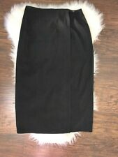 Talbots Petites Long Maxi Straight Wrap Women Skirt Black Poly Modest Career 12P