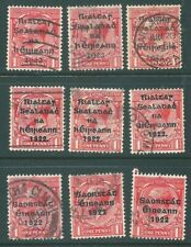 IRELAND 1922 used stamp collection: unchecked Penny shades/overprints