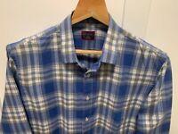 UNTUCKit L/S 100% flannel cotton button up shirt, mens large, blue plaid, EUC