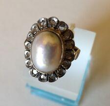 anello donna oro giallo perla mabe'  e diamanti stile antico