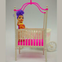 Sweet Baby Crib For Barbie Girls Doll Furniture Kelly Baby Bed Doll Accessories
