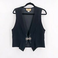 Vintage New Frontier Womens Size Medium Black Vest Micro Suede Cowgirl Concho