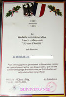 DIPL009 - DIPLOME MEDAILLE COMMEMORATIVE FRANCO-ALLEMANDE 50 ANS D'AMITIE