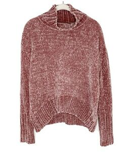 NWT Chelsea & Theodore Chenille BLUSH Fuzzy Mock Neck Pullover Sweater Size S L2