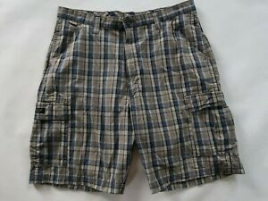 Wrangler Mens Cotton Gray Blue Plaid Cargo Khaki Shorts Tag 38 Measured 37