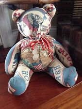 "Country Primitive Fabric Straw Filled Sitting Olde Bear 13.5"" Hand Crafted"