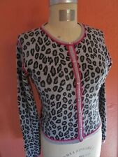 M Leopard CASHMERE Cropped Cardigan Sweater NWT Animal Print Knit Pearl Buttons