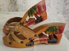Vtg 1940'S Handcarved Sandal🌴Tiki Hut Phillipine Souvenir Wwii Collector Shoe