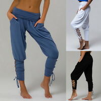 CA New Women's Harem Crop Trousers Pants Leggings Baggy Aladdin Boho Hippy GW