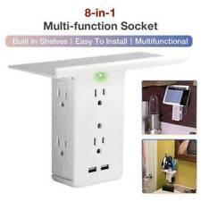 US 8 Port Socket Shelf Surge Protector Wall Outlet 6 Extender Outlet 2 USB Port