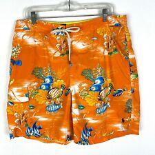 Polo Ralph Lauren swim trunks Sz L men's orange fish print board shorts lined