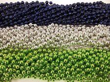 36 Seahawks Blue Silver Green Metallic Mardi Gras Beads Party Favors 3 Dozen
