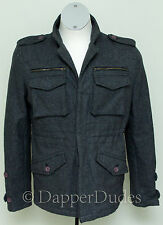 Mint! SHADES OF GREIGE Military Wool Coat Jacket-Men's M-Epaulets-Charcoal Gray