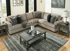 NEW Modern Living Room Furniture - Brown Chenille Sectional Sofa Couch Set IG0X