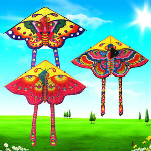 1Set 90*50cm butterfly printed long tail kite outdoor kite toy with hand^lk