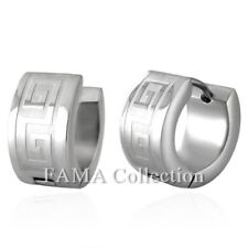 Stylish Fama Stainless Steel Greek Key Hoop Huggie Earrings