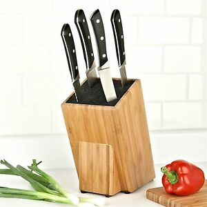 Kapoosh Kitchen Caddy Universal Slotless Bamboo Knife Block Cutlery Holder