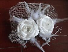 Ivory Bride Birdcage Face Veil Short Wedding Bridal Veil Feather Flowers 003