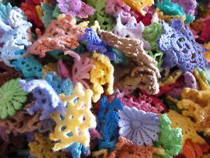 75pc tiny mini cotton crochet medallions doilies and flower Rainbow SALE