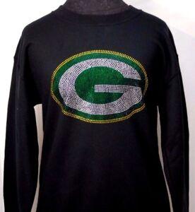 Green Bay Packers Ladies Rhinestone Bling Women's Sweatshirt Woman's (Size S-XL)