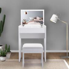 Dressing Table W/full set of Flip Mirror Stool Makeup Desk Vanity Dresser White