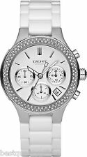 NEW DKNY WHITE CERAMIC+SILVER TONE+CRYSTALS WATCH NY4985