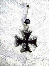 USA CAST PEWTER IRON CROSS PENDANT BLACK INLAY & DBL BLACK CZ BELLY BUTTON RING