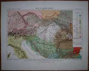 1878 Reclus map ETHNIC MAP OF AUSTRIA-HUNGARY (#5)