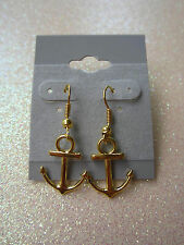 GOLD TONE ANCHOR DANGLE EARRINGS