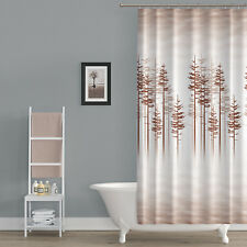 Extra Long Fabric Shower Curtain With Nature Print , 180cm Wide by 200cm Drop