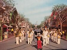 Mickey Mouse And The Disneyland Band Main Street USA Vintage Post Card Anaheim