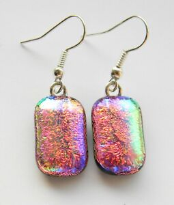 Genuine Hand Crafted Dichroic Glass Earrings -  Iridescent Pink