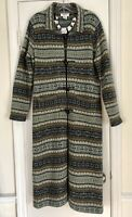 TALBOTS Nordic Fair-Isle Duster Cardigan Horn-Toggle Buttons Sz S (4-6) msrp$250