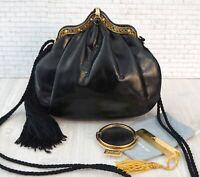 JUDITH LEIBER Black Lizard Jeweled Gold Frame Evening Shoulder Bag Vintage MINT