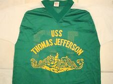 Vintage Navy USS Thomas Jefferson Boat Submarine V-Neck Netted Jersey T Shirt S