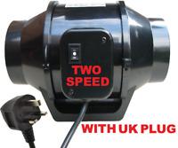 """100mm twin speed 4"""" inch Inline Extractor mixed flow Exhaust Bathroom duct Fan"""
