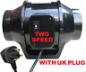 100/125/150mm 2 speed 4/ 5/6 inch Inline Extraction mixed flow Fan, hydroponics