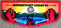 MOSWETUSET LODGE 52 MA 195 261 131 158 PATCH 2015 OA 100TH CENTENNIAL DEATH FLAP