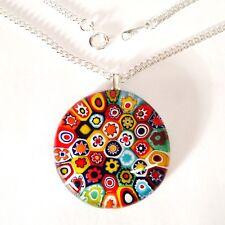 Multi-Coloured Glass Flower Pendant Necklace Silver Chain with Murano Millefiori
