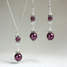 Burgundy crystal pearl necklace earrings wedding bridesmaid silver jewellery set
