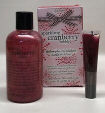 PHILOSOPHY SPARKLING CRANBERRY BUBBLY SHAMPOO SHOWER GEL BUBBLE BATH + Lip Gloss