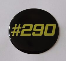 #290 Amarillo en Negro STICKER/DECAL - 50mm de diámetro acabado de alto brillo abovedado Gel