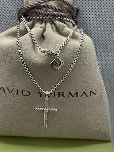 "David Yurman Sterling Silver Small Diamond Cross Pendant Necklace with 16"" chain"