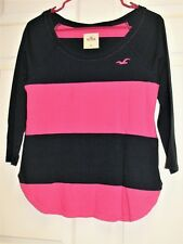 HOLLISTER Women's 3/4 Sleeve Scoop Neck Shirt Top Black & Pink Striped Size M