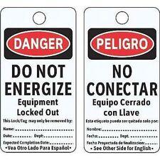 "Do Not Energize Equipment Locked Danger Bilingual Tag, 5-3/4"" X 3"" PK25 (M1070)"